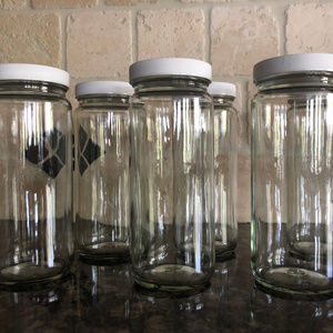 Clear Glass Water Bottles Set